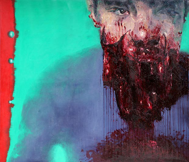 Tarek Tuma, Hamza Bakkour, 2013, Oil on canvas, 205 x 175 cm, from the series Homo Sacer / Courtesy of the Artist